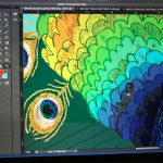 From embroidery to Photoshop- the peacock gets some colour enhancement screen shot of me at work