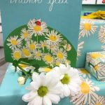 Thank you daisies greetings card and daises embroidered illustrated design gift wrap