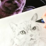 The cat named Sunny Jim was happy to pose for my pencil sketch illustration ready for embroidery
